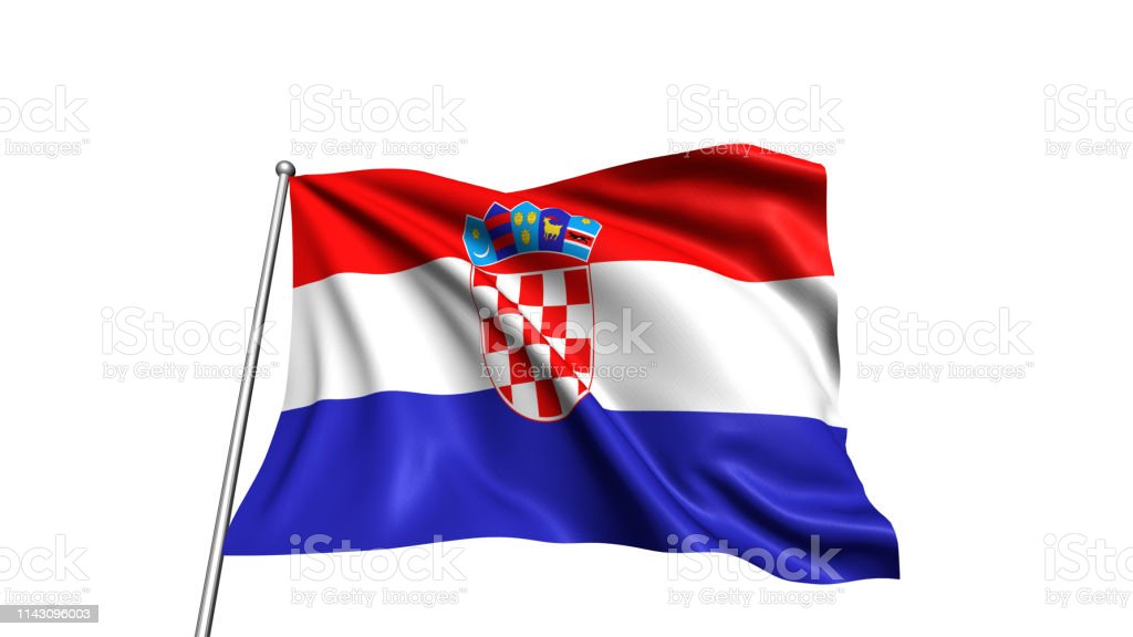 flag of Croatia with fabric structure in the wind - foto stock