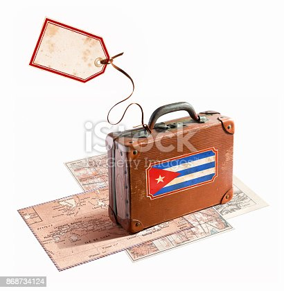 Cuban flag on antique leather suitcase with luggage tag and label