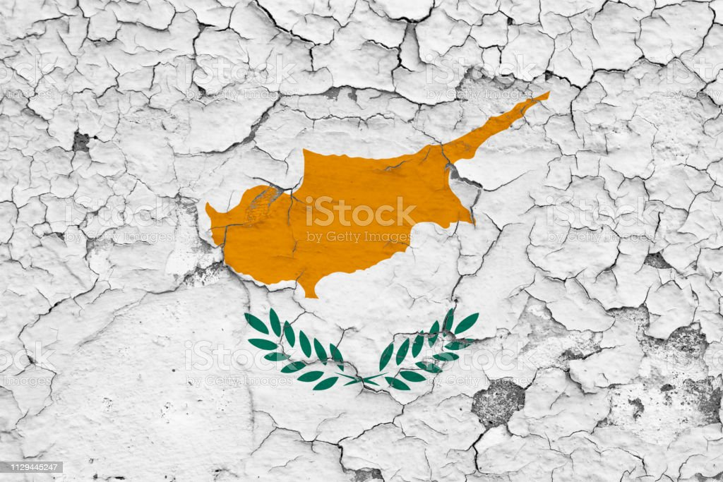 Flag Of Cyprus Painted On Cracked Dirty Wall National