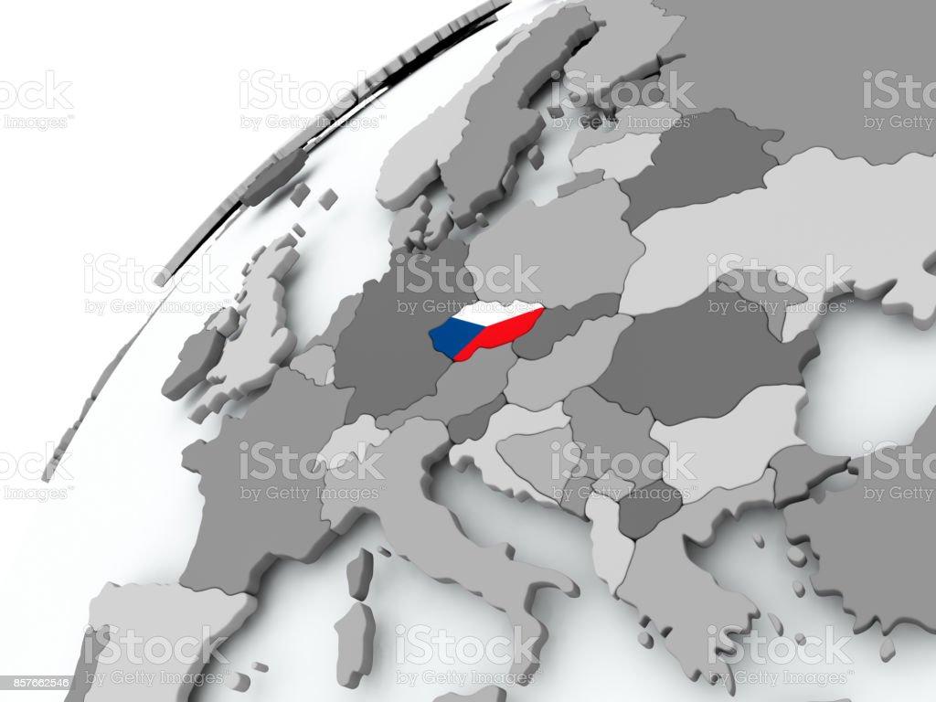 Flagge der Tschechischen Republik auf graue Welt – Foto