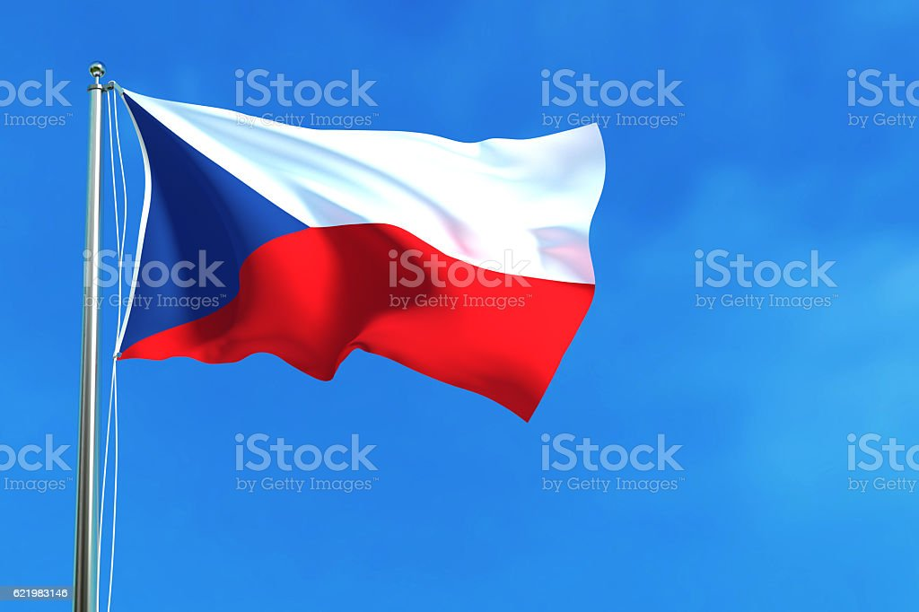 Flag of Czech Republic on the blue sky background. - foto de stock