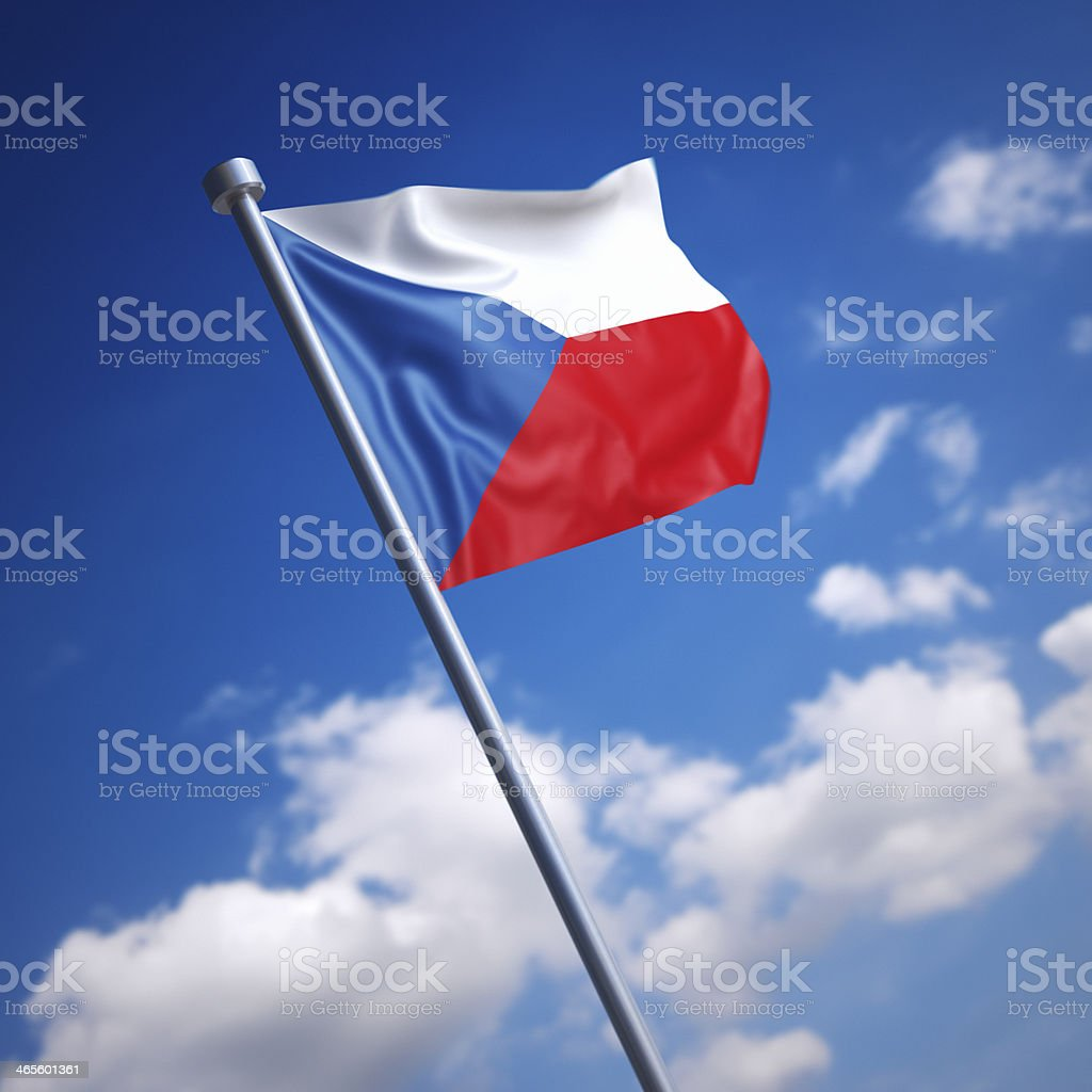 Flag of Czech Republic, the - against blue sky royalty-free stock photo
