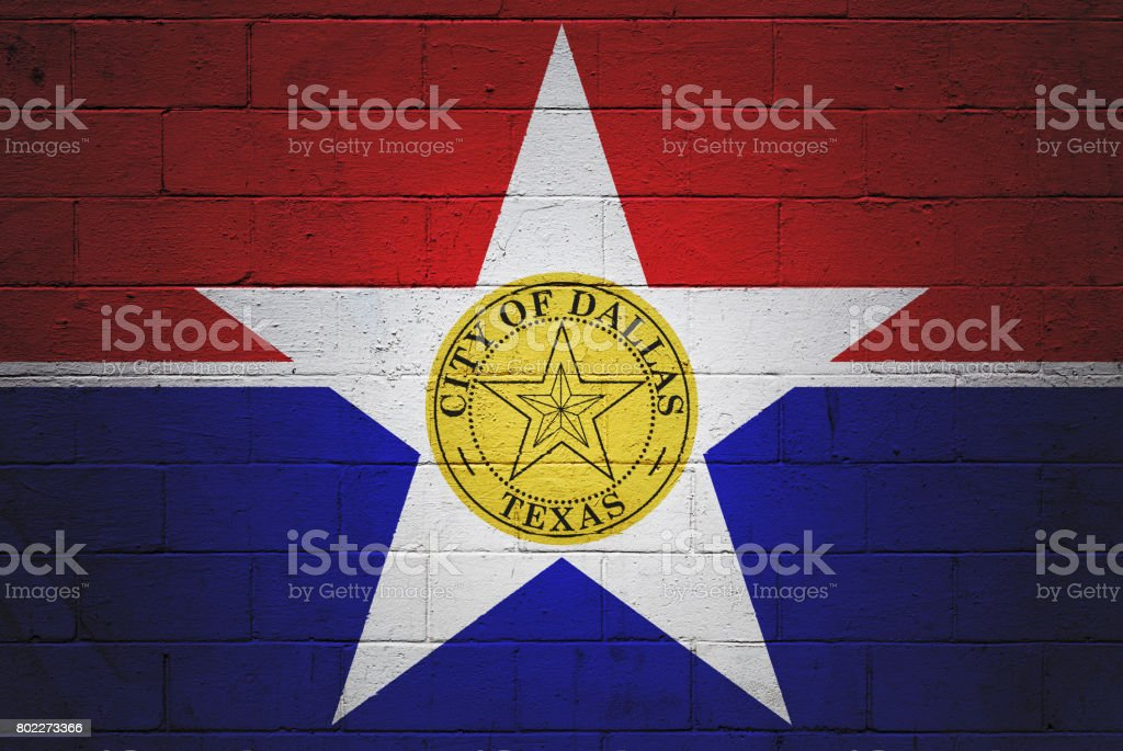 Flag of Dallas painted on a wall stock photo
