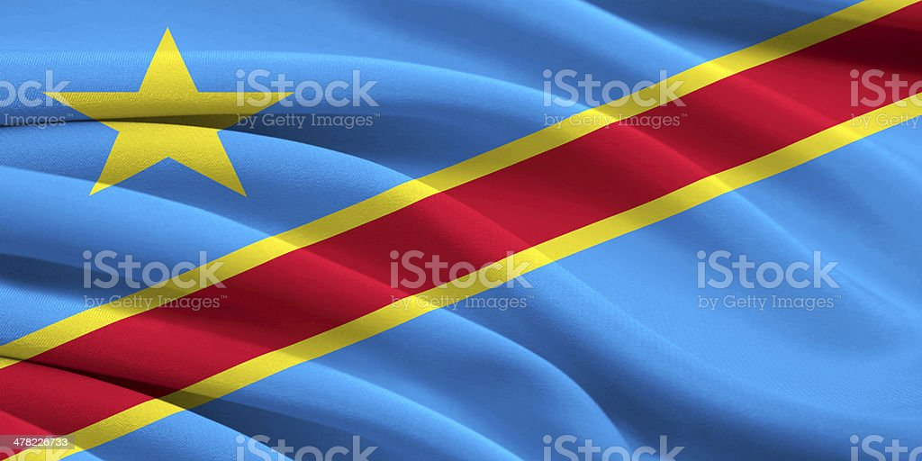 Flag of Democratic Republic  Congo stock photo