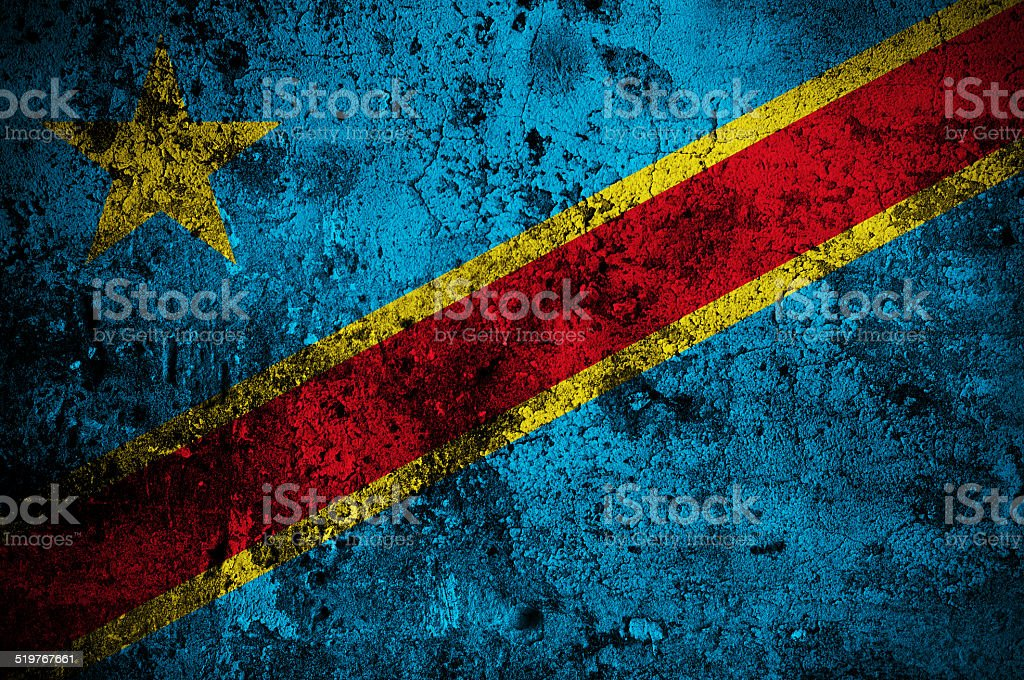 flag of Democratic Republic of the Congo stock photo
