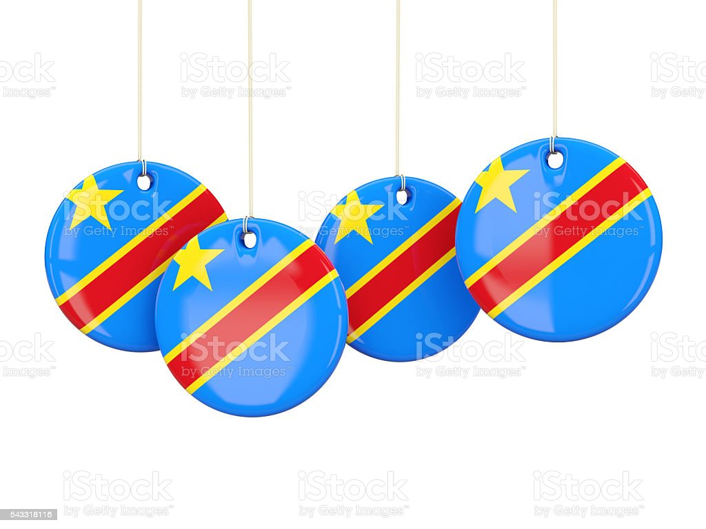 Flag of democratic republic of the congo, round labels stock photo