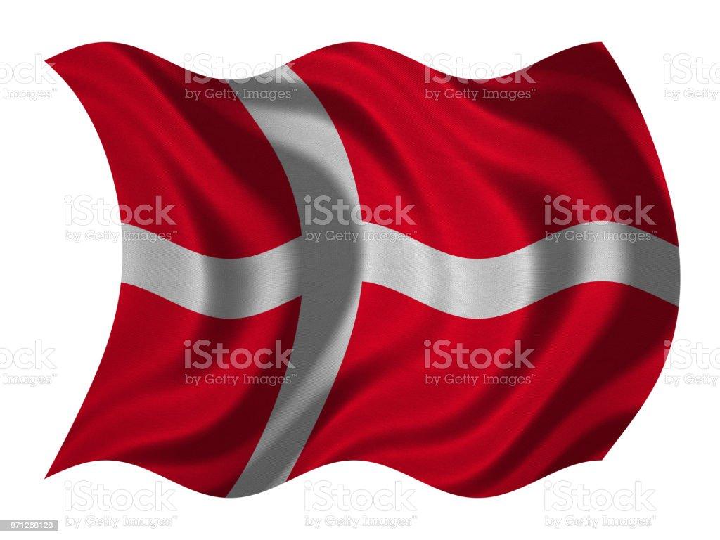 Bandera de Dinamarca ondulado en blanco, textura de la tela - foto de stock