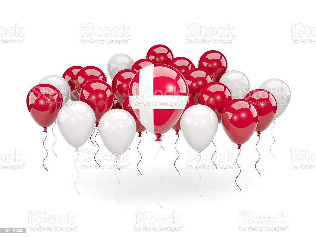 Flag of denmark with balloons - foto de stock