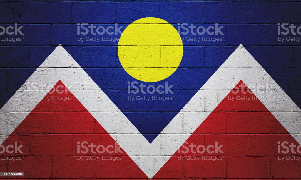 Flag of Denver painted on a wall stock photo