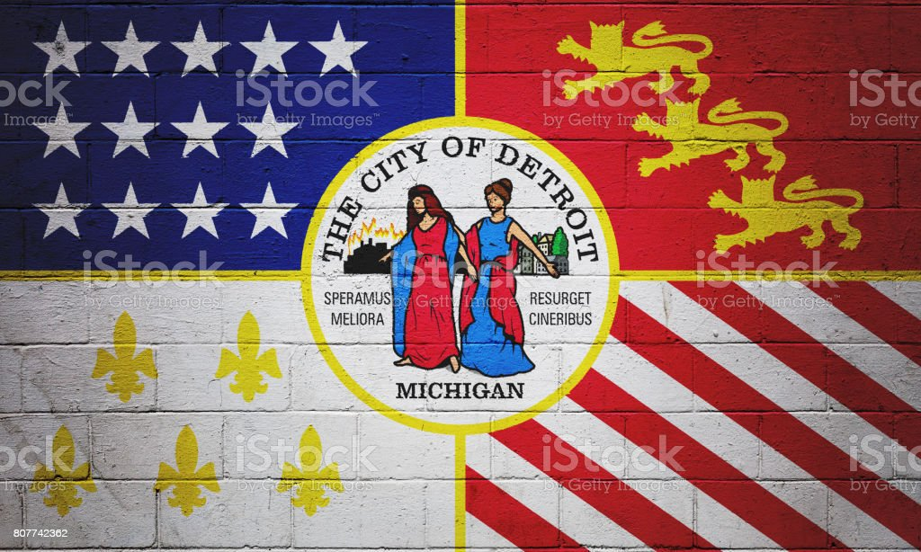 Flag of Detroit painted on a wall stock photo