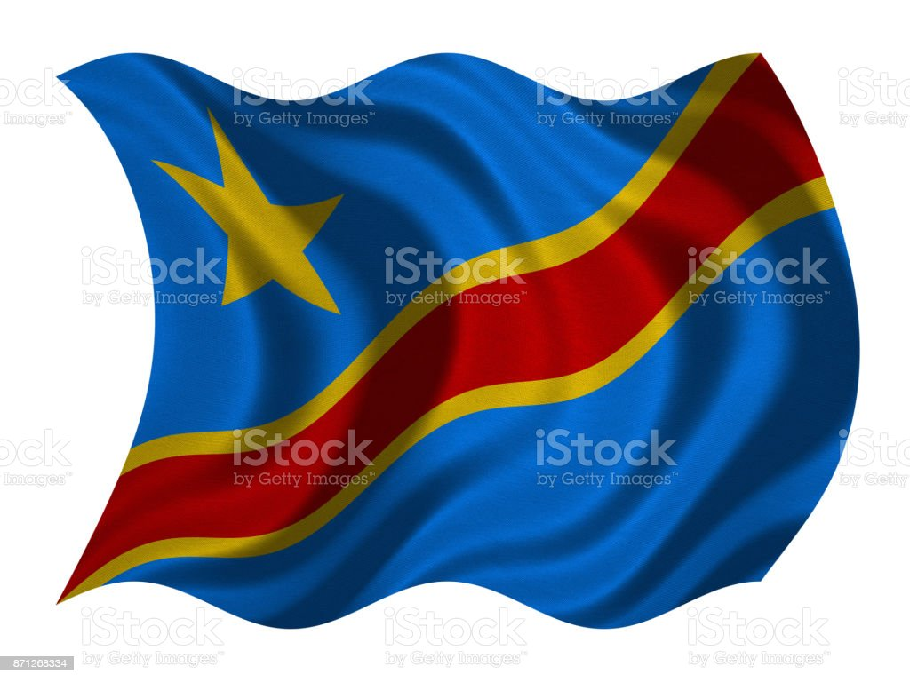 Flag of DR Congo wavy on white, fabric texture stock photo
