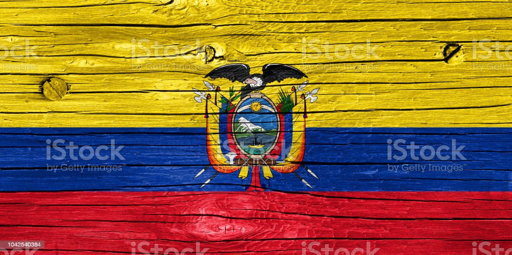 Bandera de Ecuador en madera - foto de stock
