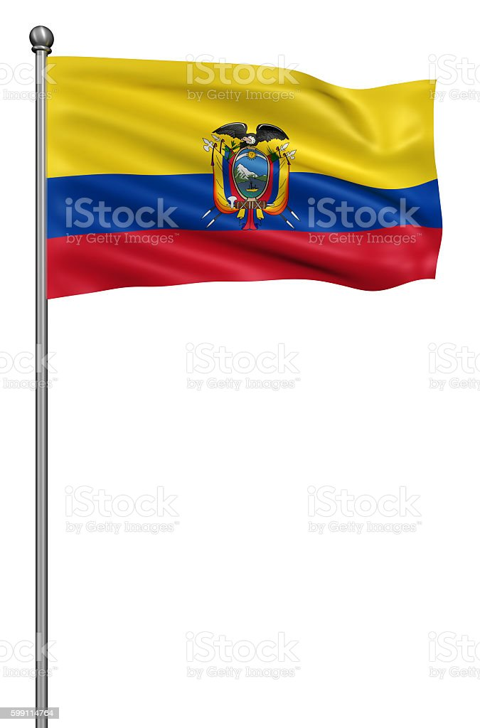Flag of ecuador with flagpole isolated on white. - foto de stock