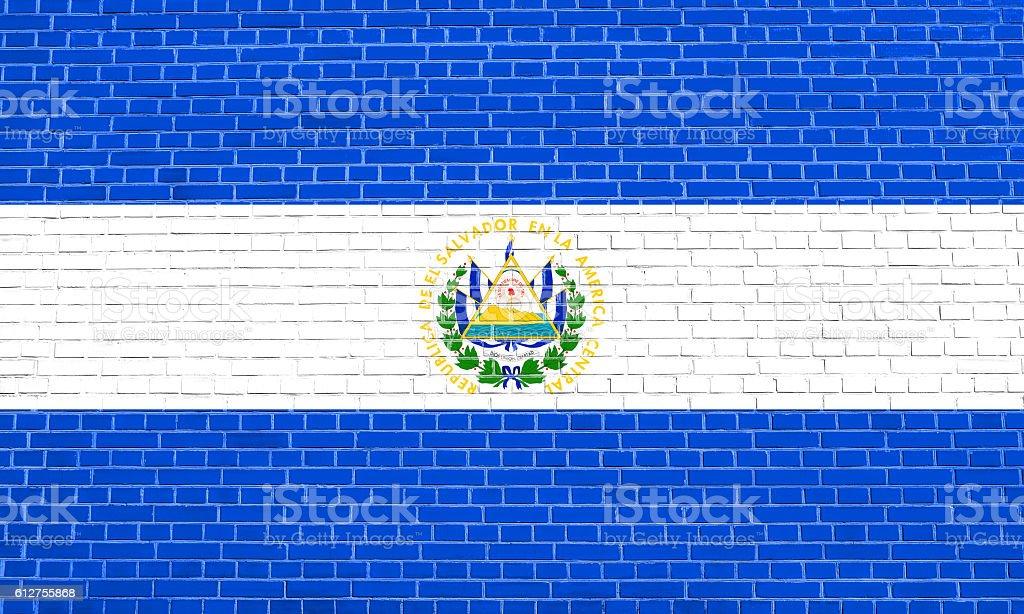 Flag of El Salvador, brick wall texture background stock photo