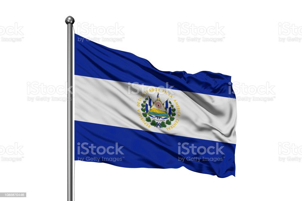 Bandera del Salvador ondeando en el viento, fondo blanco aislado. - foto de stock