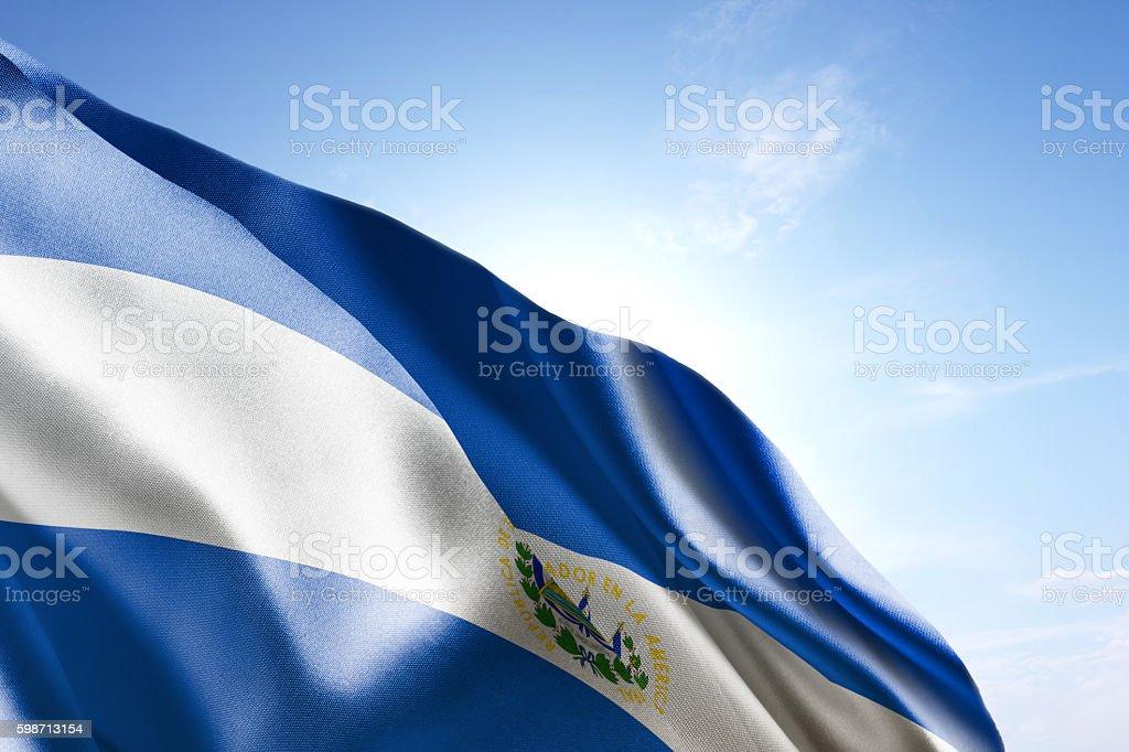 Flag of El Salvador waving in the wind stock photo