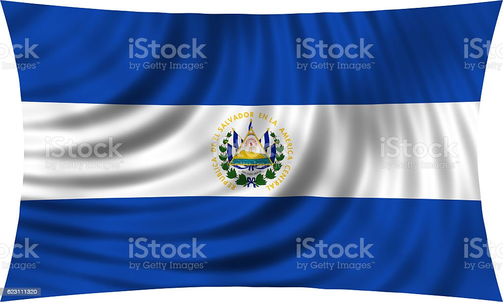 Flag of El Salvador waving isolated on white - foto de stock