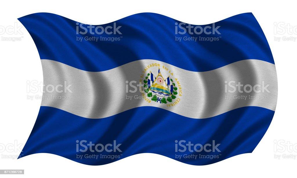 Bandera del Salvador ondulado en blanco, textura de la tela - foto de stock