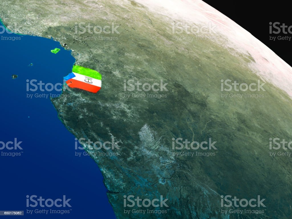 Flag of Equatorial Guinea from space stock photo