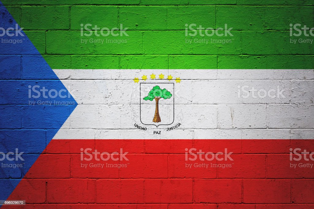 Flag of Equatorial Guinea painted on a wall stock photo