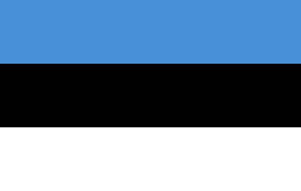 a flag of estonia in black white and blue - estonya stok fotoğraflar ve resimler