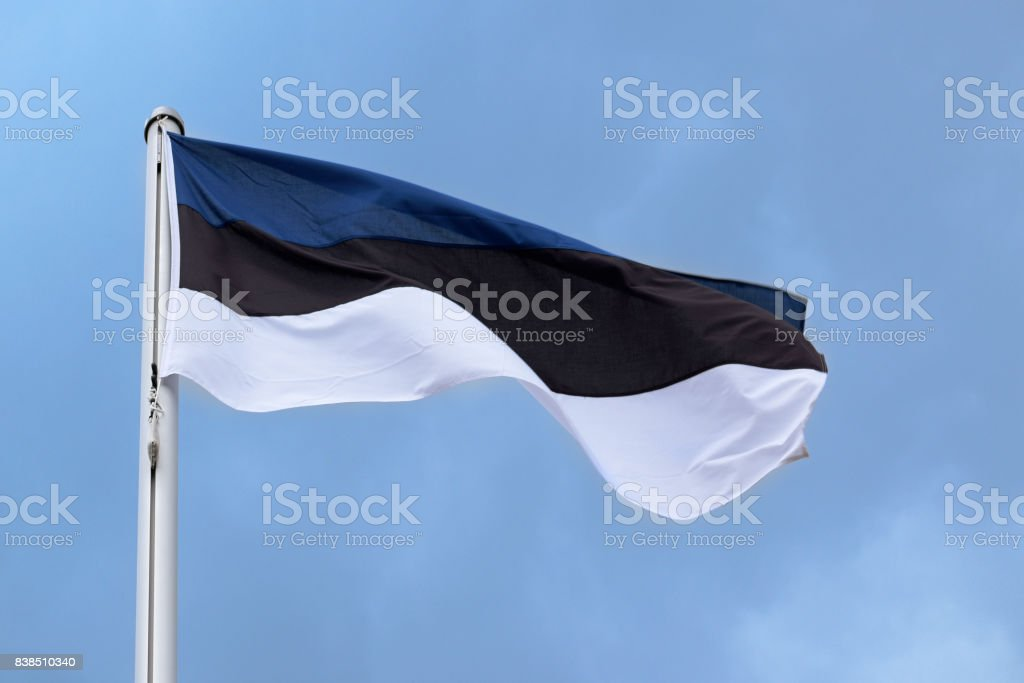 Flag of Estonia with stripes in blue, black and white, national symbol or sign of the country, fluttering in the wind against the blue sky with clouds on a sunny day stock photo