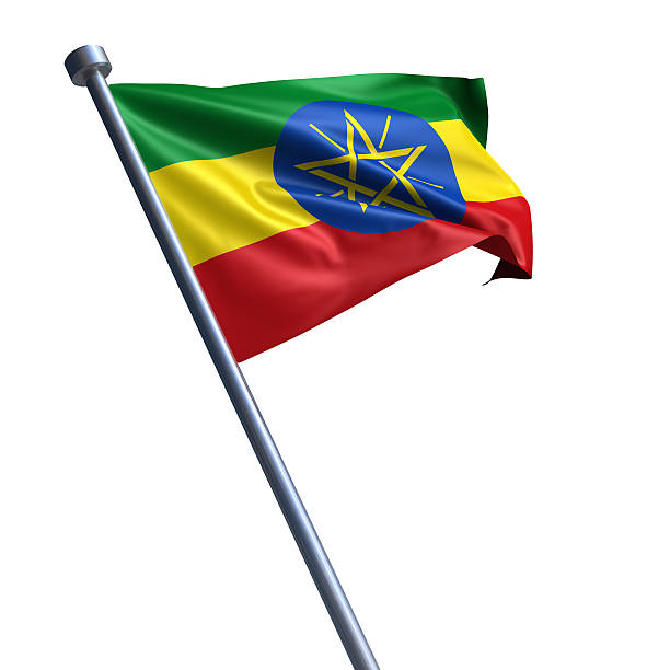 flag of ethiopia isolated on white - ethiopian flag stock photos and pictures