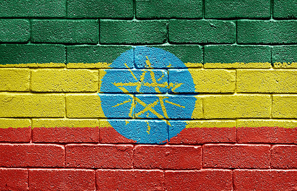 flag of ethiopia on brick wall - ethiopian flag stock photos and pictures