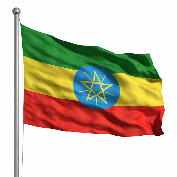 flag of ethiopia (isolated) - ethiopian flag stock photos and pictures