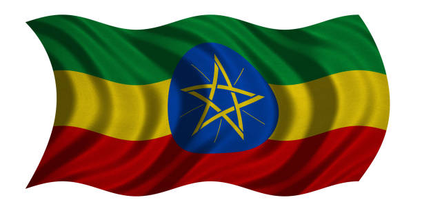 flag of ethiopia wavy on white, fabric texture - ethiopian flag stock photos and pictures