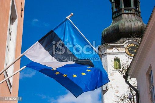 1126684642 istock photo Flag of Europe and Estonia 1151020114