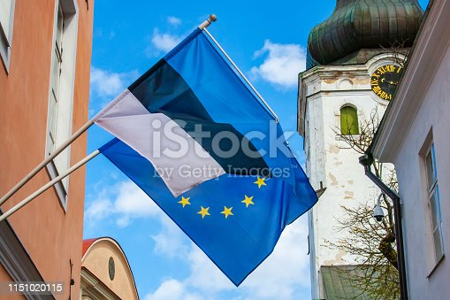 1126684642 istock photo Flag of Europe and Estonia 1151020115