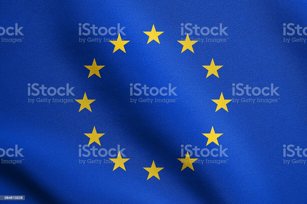 Flag of Europe, European Union, waving with fabric texture stock photo