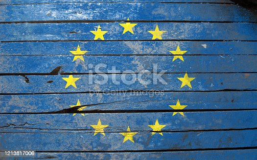 Flag of European Nation , painted on a grunge plank