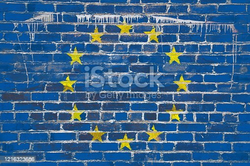 Flag of European Nation , painted on a grunge wall