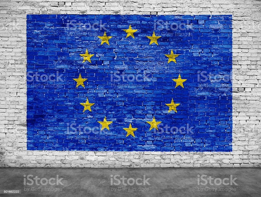 Flag of European Union and foreground stock photo