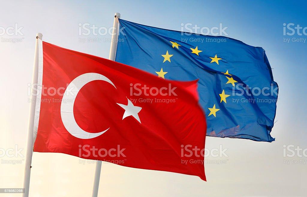 Flag of European Union and Turkey stock photo