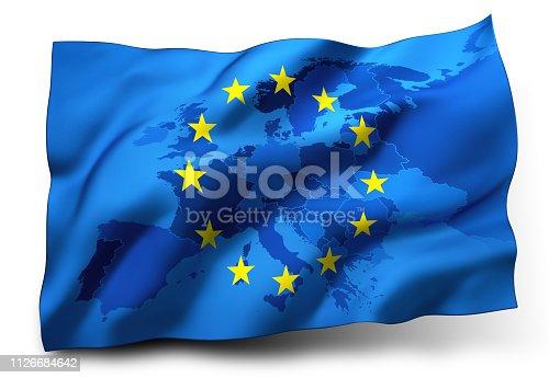 1126684642 istock photo Flag of European Union - Europe Map inside 1126684642