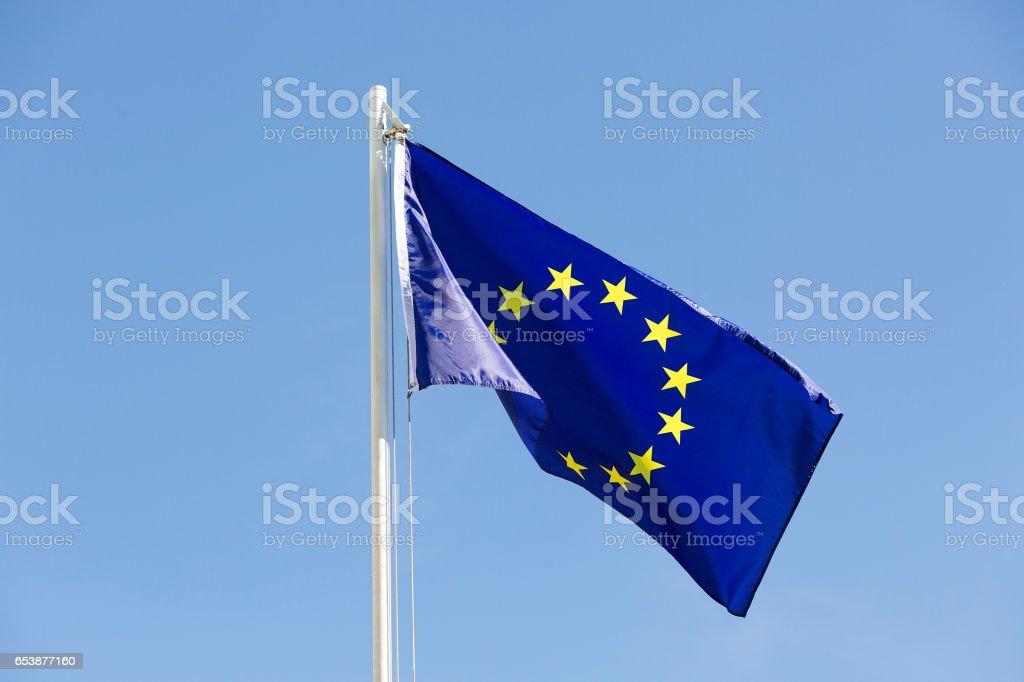 Flag of European Union on a flagpole stock photo