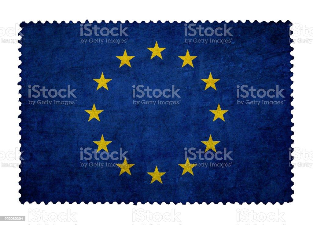 Bandera de la Unión Europea sobre grunge sello fondo aislado - foto de stock