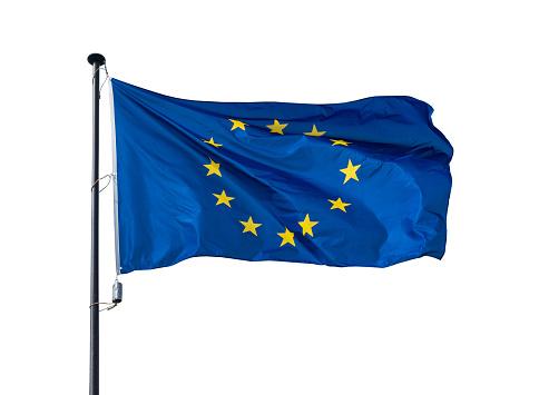 Flag of  European Union on white background .