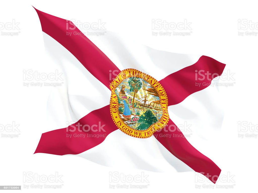 Flag of florida, US state fluttering flag stock photo