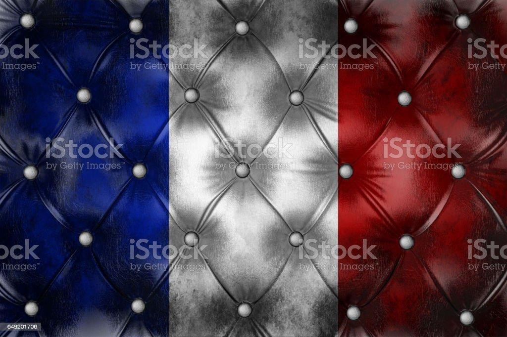 Pavillon de la France sur la décoration de cuir coach capitone quadrillé. - Photo