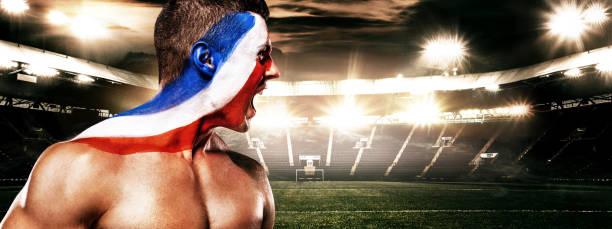 flagge von frankreich - sieger und champion fußball oder fußball-fan mit bodyart auf gesicht. kopieren sie raum. - fußball poster stock-fotos und bilder