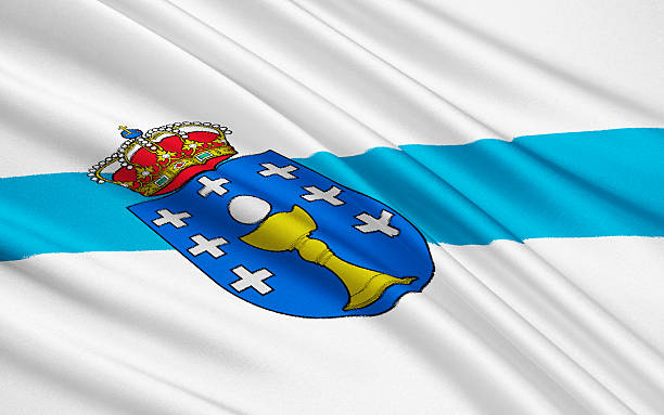 Flag of Galicia, Spain stock photo