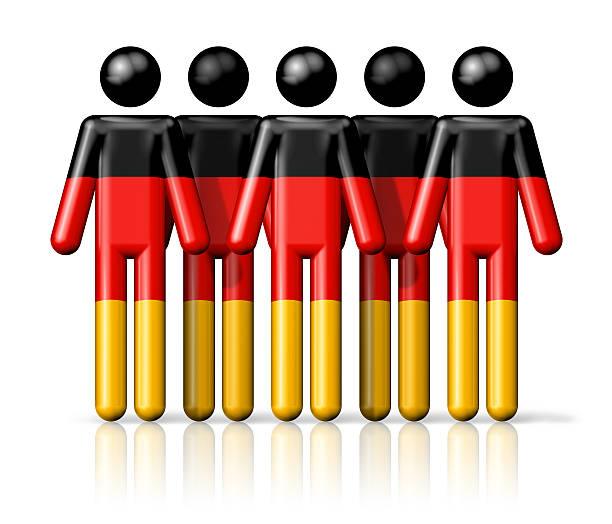flagge der deutschland auf strichmännchen - demographie deutschland stock-fotos und bilder