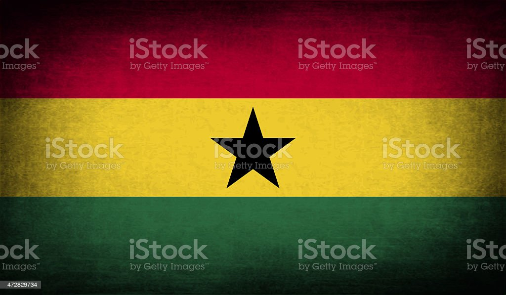 Flag of Ghana with old texture. stock photo