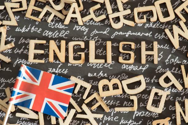 Flagge von Großbritannien und das Wort Englisch – Foto