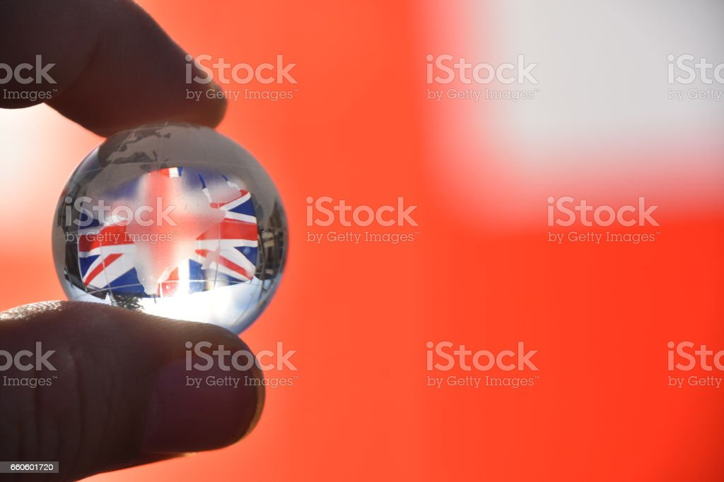 Flag of Great Britain, Crystal Ball royalty-free stock photo