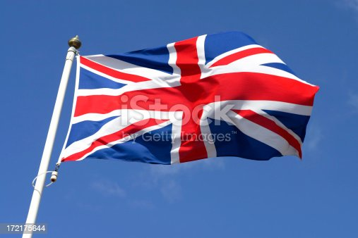 Union Jack waving in the wind.